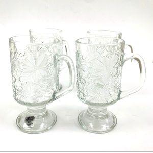 4 PRINCESS HOUSE Crystal Hot Beverage Footed Mugs